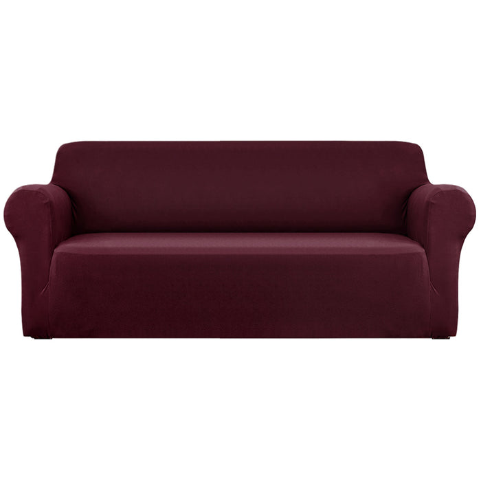 Sofa Cover Elastic Stretchable Couch Covers Burgundy 4 Seater
