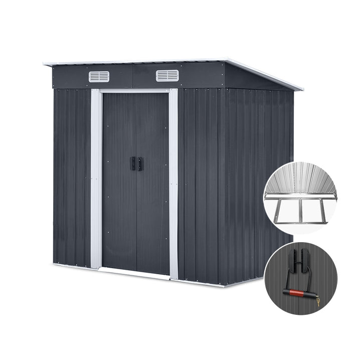 1.94 x 1.21m metal Base Garden Shed - Grey