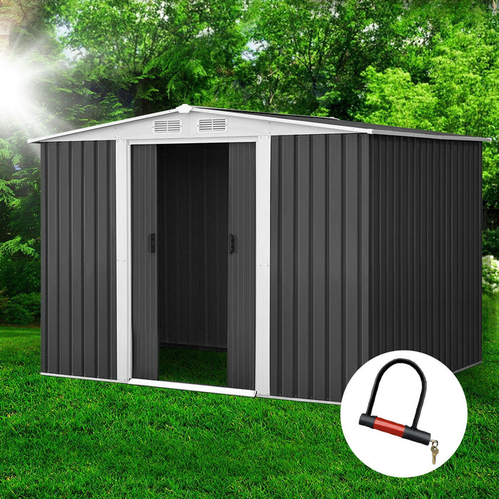 2.05 x 2.57m Steel Garden Shed with Roof - Grey