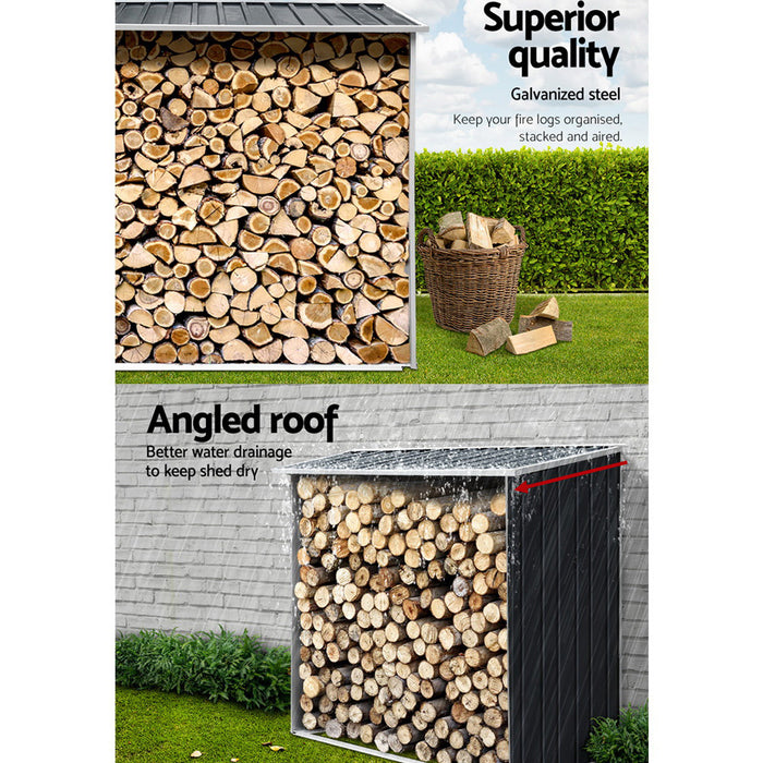 Log Firewood Storage Shed Galvanised Steel Garden Outdoor 2m³ Shelter 163x83x154CM