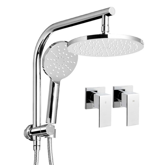 Round 9 inch Rain Shower Head and Taps Set Bathroom Handheld Spray Bracket Rail Chrome