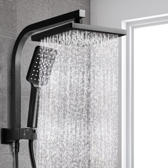 8 inch Rain Shower Head Square Wall Bathroom Arm Handheld Spray Bracket Rail Mat Black