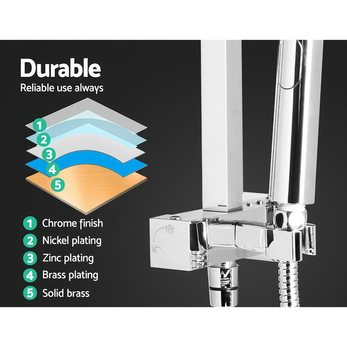 Square 8 inch Rain Shower Head and Taps Set Bathroom Handheld Spray Bracket Rail Chrome