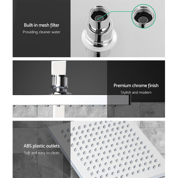 "8"" Rain Shower Head Set Square Dual Heads Taps Hand Held High Pressure DIY"