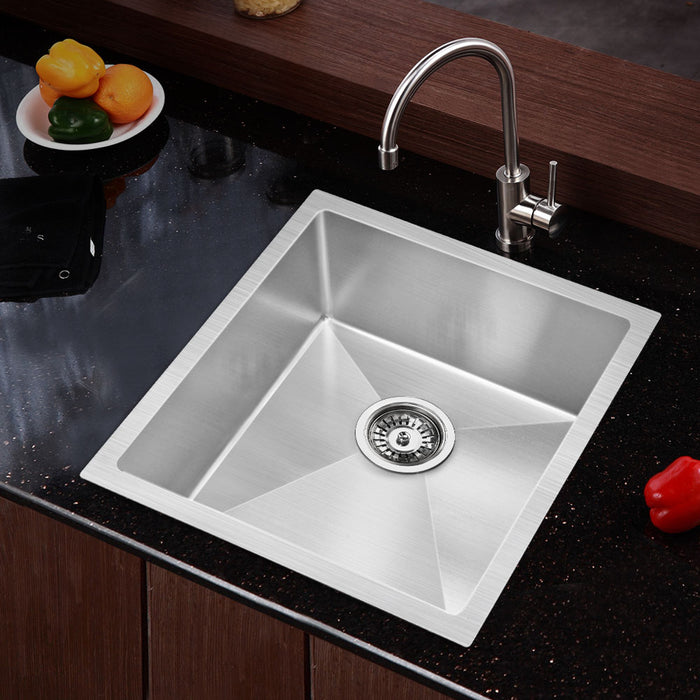 440x450mm Stainless Steel Kitchen Laundry Sink Single Bowl Nano Silver