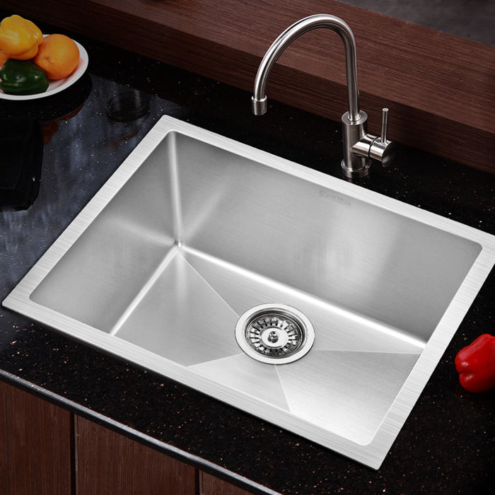 540x440mm Stainless Steel Kitchen Laundry Sink Single Bowl Nano Silver