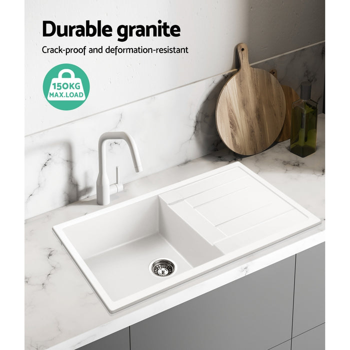 Kitchen Sink Granite Stone Laundry Top or Undermount Double White 860x500mm