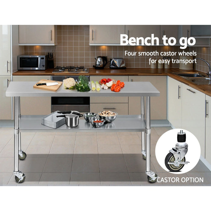 304 Stainless Steel Kitchen Benches Work Bench Food Prep Table with Wheels 1524MM x 610MM