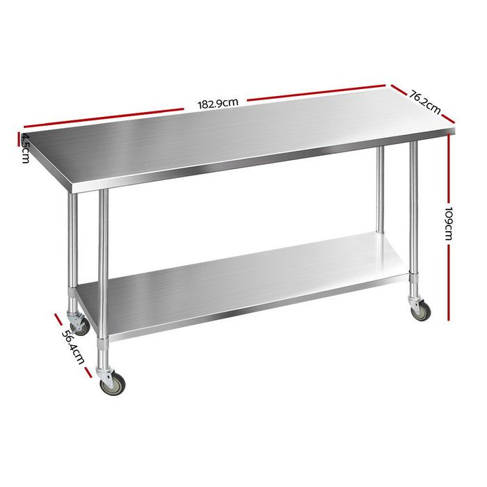 1829 x 762mm Commercial Stainless Steel Kitchen Bench with 4pcs Castor Wheels