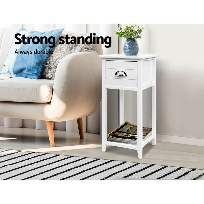 Bedside Table Nightstand Drawer Storage Cabinet Lamp Side Shelf White
