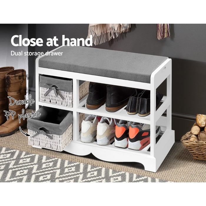 Shoe Cabinet Bench Rack Wooden Storage Organiser Shelf Stool 2 Drawers
