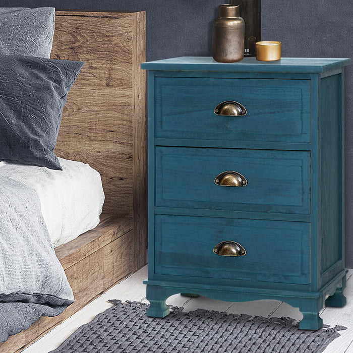 Bedside Tables Drawers Side Table Cabinet Vintage Blue Storage Nightstand