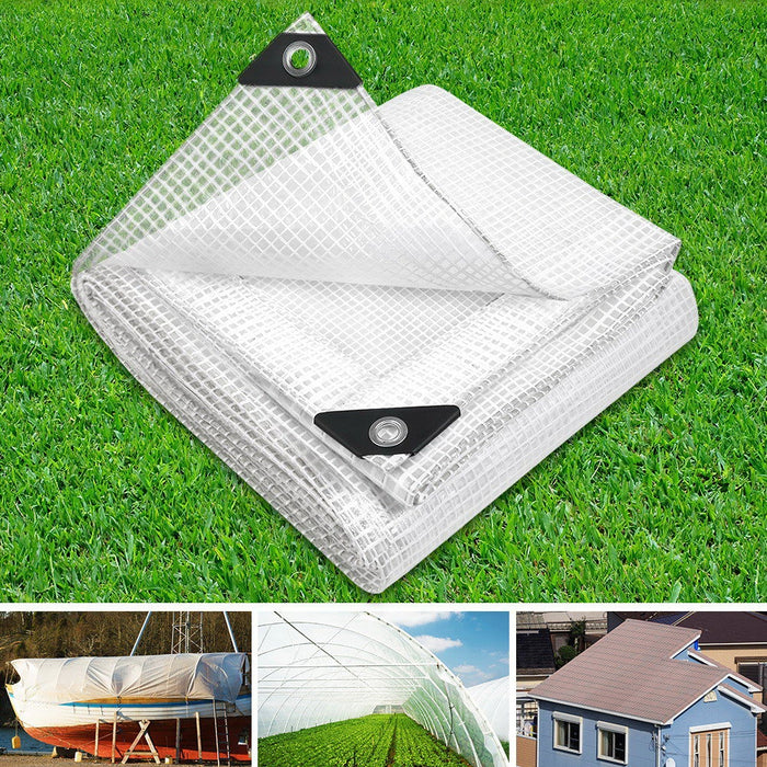 5x6m Heavy Duty Poly Tarps Tarpaulin Camping Cover Clear