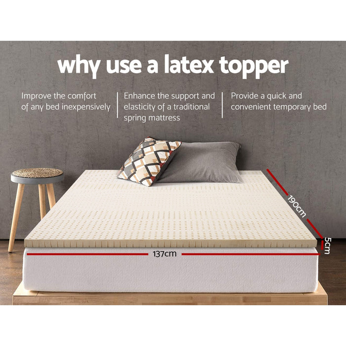 Bedding Pure Natural Latex Mattress Topper 7 Zone 5cm Double