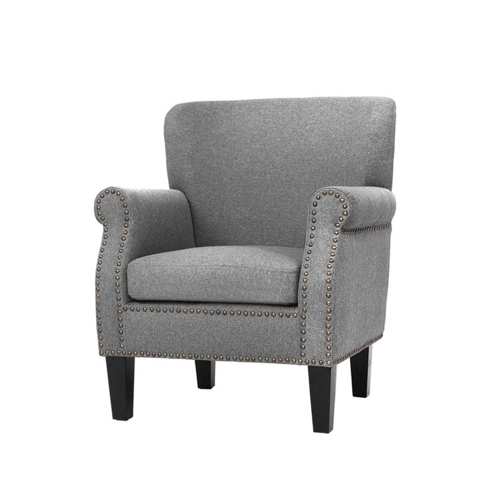 Armchair Accent Chair Retro Armchairs Lounge Accent Chair Single Sofa Linen Fabric Seat Grey
