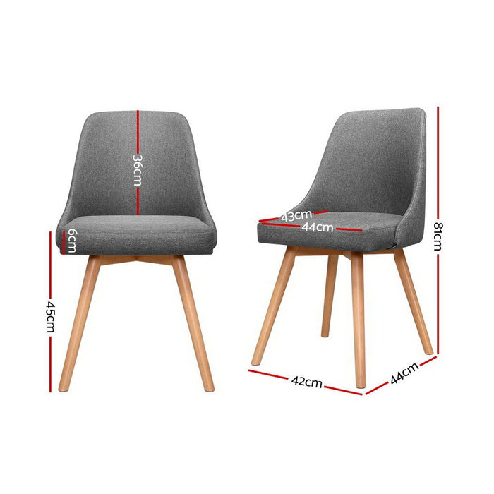 2x Replica Dining Chairs Beech Wooden Timber Chair Kitchen Fabric Grey