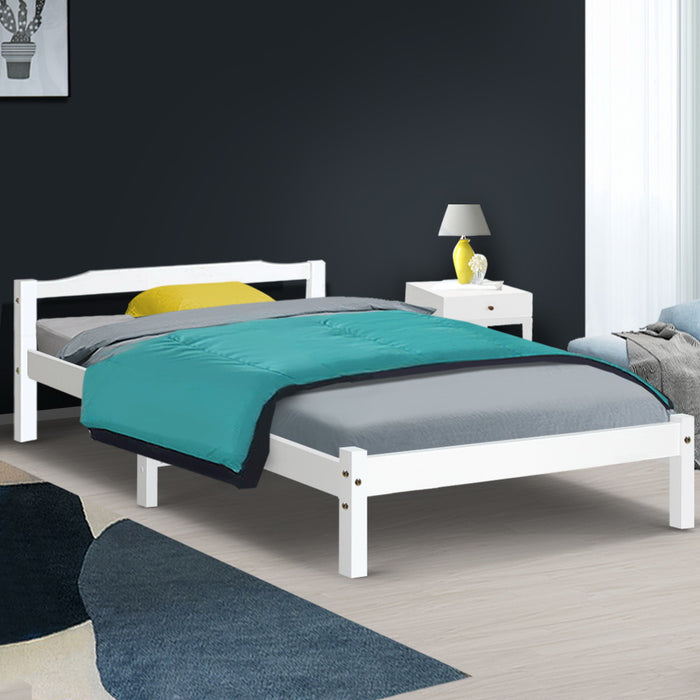 King Single Size Wooden Bed Frame Mattress Base Timber Platform White