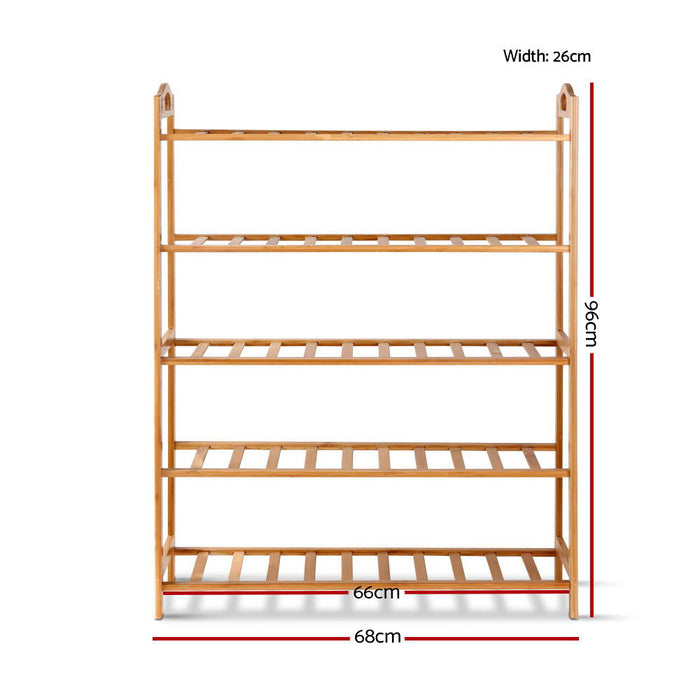 5-Tier Bamboo Shoe Rack Organiser Storage Shelf Stand Shelves