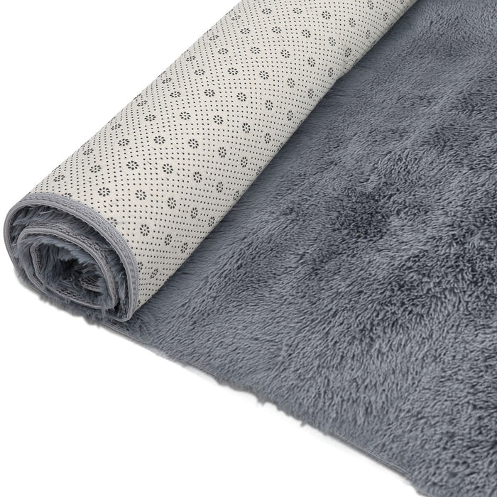 Ultra Soft Shaggy Rug Large 200x230cm Floor Carpet Anti-slip Area Rugs Grey