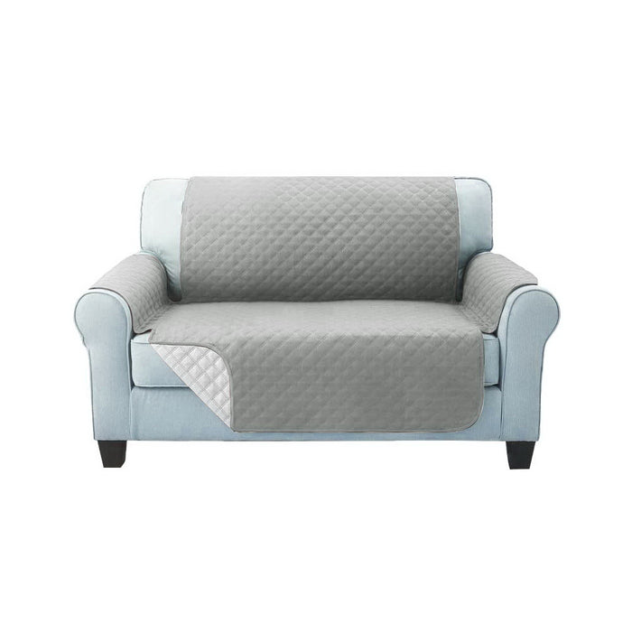 Sofa Cover Quilted Couch Covers Protector Slipcovers 2 Seater Grey