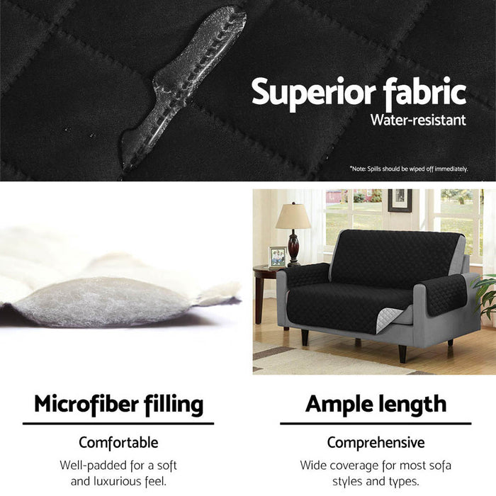 Sofa Cover Quilted Couch Covers Protector Slipcovers 3 Seater Black