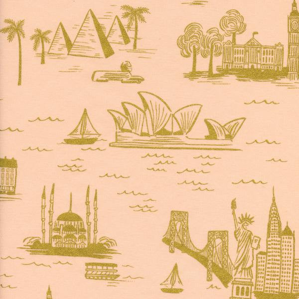 Image of City Toile in Peach (Metallic Gold) - Cotton and Steel - Rifle Paper Co. - Les Fleurs
