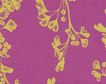 Image of Gingko in Raspberry Metallic - Andover - Geishas and Ginkgos