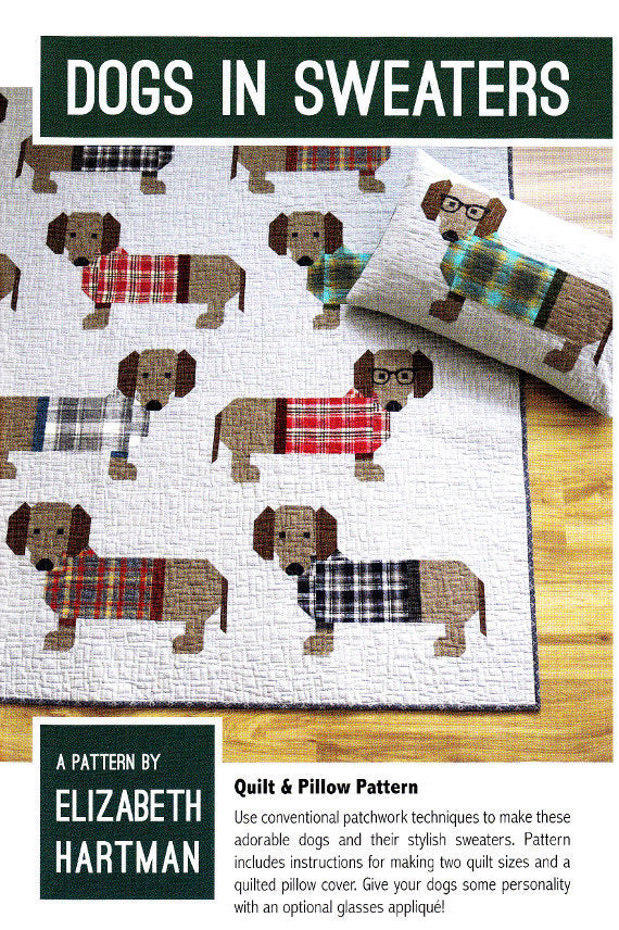 Image of Dogs in Sweaters Quilt and Pillow Pattern, Paper Pattern - Elizabeth Hartman - Elizabeth Hartman