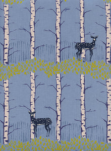Image of Fawn Forest in Blue - Cotton and Steel - Sarah Watts - Frost