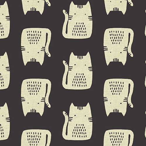 Cats in Black - Linen - Andover - Sarah Golden - Maker Maker - ALN8454K