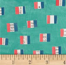 French Flags in Aqua - Windham - Carrie Bloomston - Wonder - 50518-3