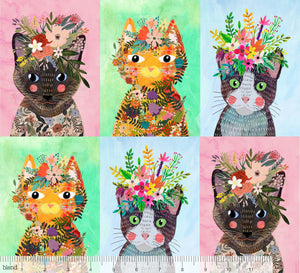 More Floral Kitties in Multi - Blend - Mia Charro - Floral Pets - 129.101.08.1