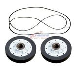 EXP649 Dryer Drum Roller and Belt Set Replaces WP40111201, WP37001042