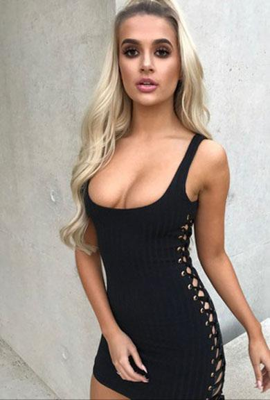 ALMA lace up bodycon dress