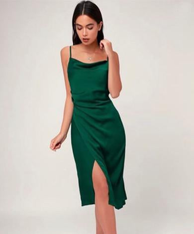 LAURA split satin dress