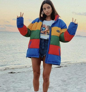 COLLEEN rainbow puffer jacket