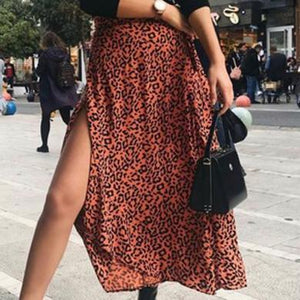 CANDICE leopard satin skirt