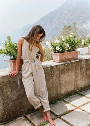 cute long rope bow jumpsuit