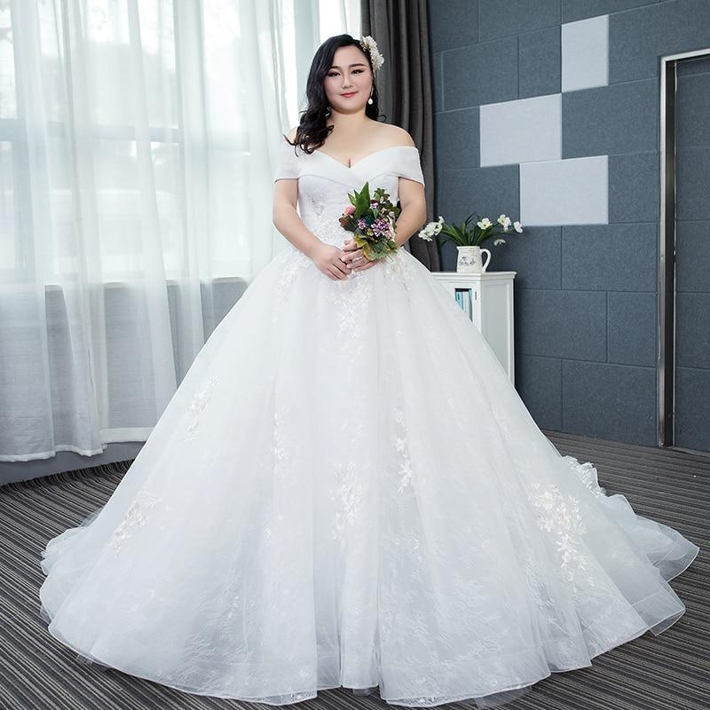 simple bride shoulder Large-size wedding dress