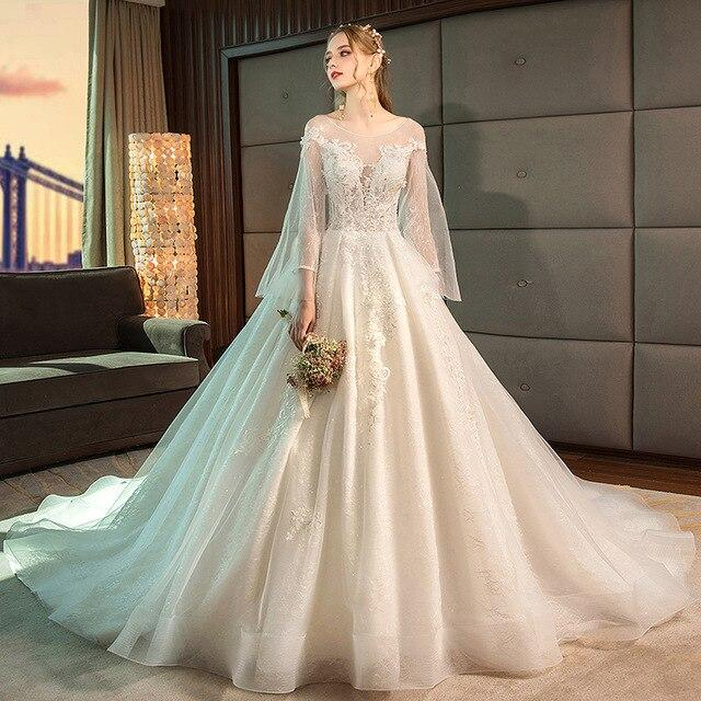 Wedding dress 2019 new Hepburn sizes shake the same bride pregnant women Mori wore a word shoulder tail