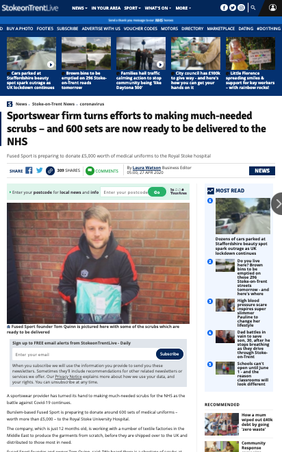 The Sentinel - Sportswear firm turns efforts to making much-needed scrubs – and 600 sets are now ready to be delivered to the NHS