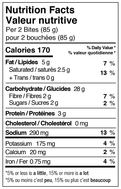 Pizza bites nutritional facts