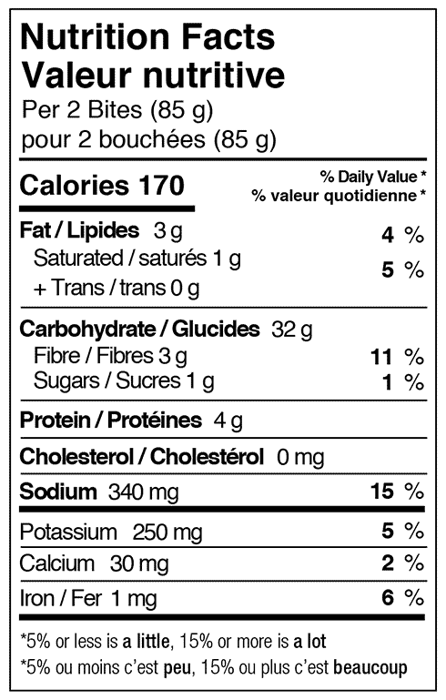 Taco bites nutritional facts