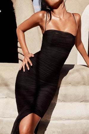 BLACK ORGANZA MESH MAXI DRESS