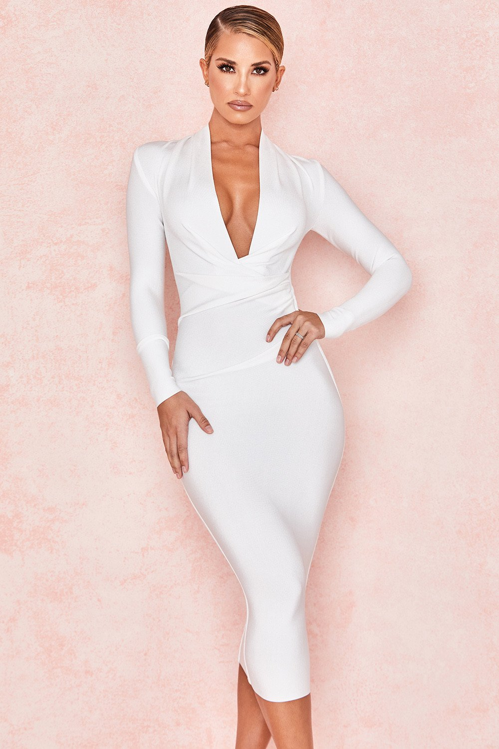 WHITE DRAPED BANDAGE DRESS