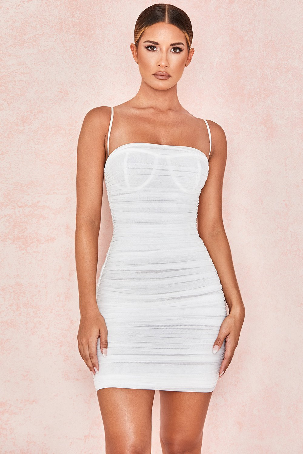 WHITE RUCHED ORGANZA MESH MINI DRESS