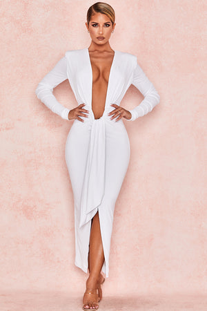 JULIETTE WHITE JERSEY PLUNGE NECK MIDI DRESS