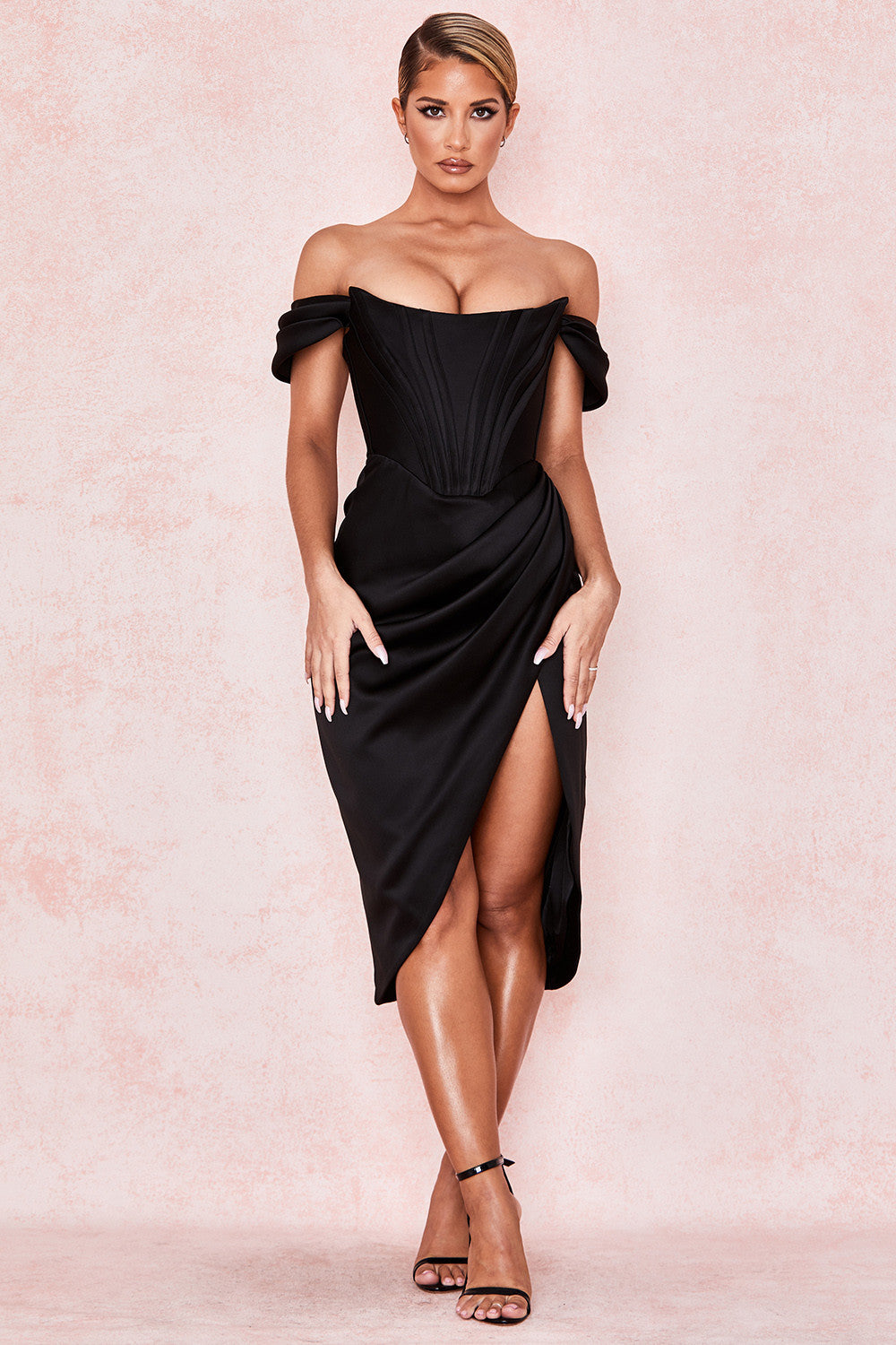LORETTA BLACK SATIN OFF SHOULDER DRESS