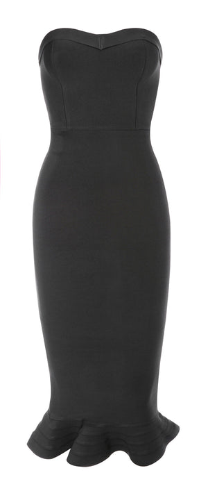 BLACK BANDAGE STRAPLESS FLUTED-HEM DRESS