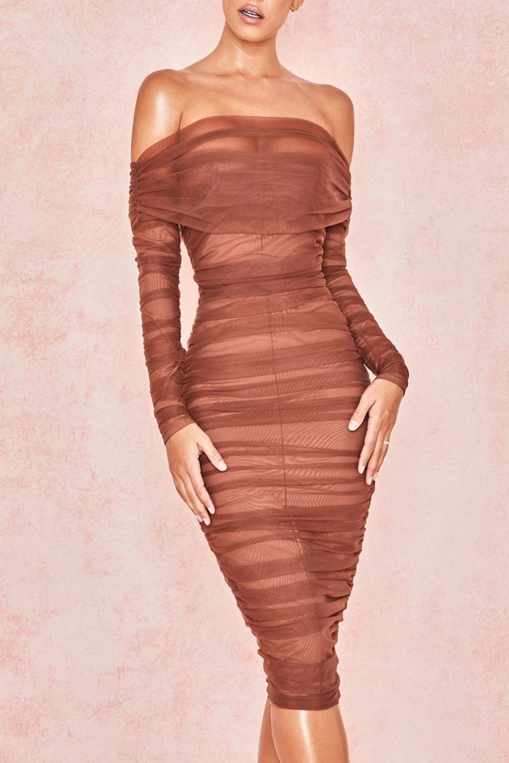 CHESTNUT TULLE OFF SHOULDER RUCHED DRESS